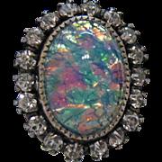 Vintage Opal Rhinestone Sterling Silver Earrings