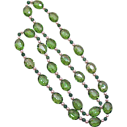 SALE Amazing Peridot Colored Glass Beads Faux Pearl Necklace