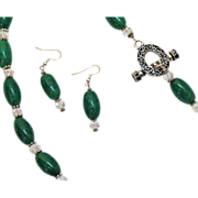 SALE Vintage Green Glass Crystal Necklace Matching Pierced Earrings Set