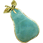 Darling Vintage Signed SF Metal Pear Pin Cushion