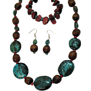 Bold Vintage Dyed Turquoise Howlite Wooden Coral Necklace Bracelet Pierced Earrings