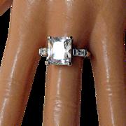 SALE Breathtaking Vintage 8 Carat Emerald Cut Baguette CZ Sterling Ring~Size 8 1/4