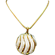 Awesome Vintage Signed Crown Trifari Enameled Pendant Necklace