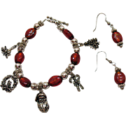 SALE Vintage Art Glass Christmas Charm Bracelet Pierced Earrings Set