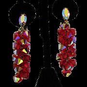SALE Vintage Signed Lewis Segal California Glass Rhinestone Dangle Earrings