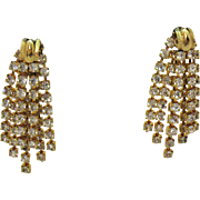Gorgeous Signed Hobe Dangle Rhinestone Vintage Clip Earrings
