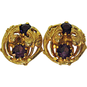 SALE Signed Vintage Alice Caviness Amethyst Clip Earrings