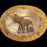 Awesome Vintage Signed Joseph Warner Elephant Glass Intaglio Brooch