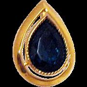 Vintage Emerald Green Tear Drop Foiled Rhinetone Pierced Earrings