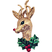 SOLD Vintage Signed Gerrys Christmas Rudolph The Red Nose Reindeer Brooch