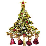Vintage Christmas Tree with Bell Charms Brooch