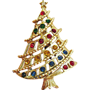 SALE Beautiful Vintage Abstract Rhinestone Golden Christmas Tree Brooch