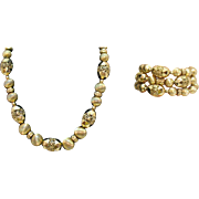 Vintage Signed Monet Gold Filigree Etruscan Beaded Necklace Bracelet Set