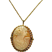 SOLD Signed Vintage 12K GF Shell Cameo Pendant Necklace