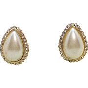 Vintage Signed Hobe Faux Pearl Clip Earrings