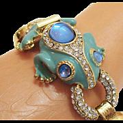 SALE Vintage Enameled Rhinestone High End Costume Jewelry Frog Bracelet