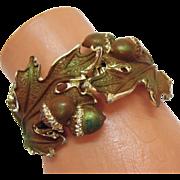SALE Unusual Vintage Acorn  Leaf Enameled Clamper Bracelet