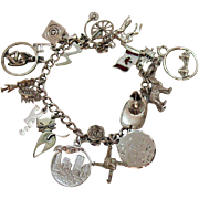 SALE Vintage Sterling Silver Charm Bracelet~18 Charms~41.7 Grams