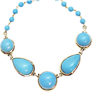 Fun Vintage Turquoise Colored Lucite Necklace
