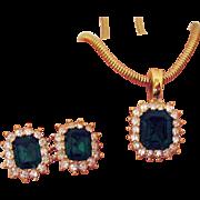 Unusual Vintage Signed Roman Emerald Green Rhinestone Enhancer Necklace Pierced Earrings Set