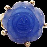 SALE Gorgeous Vintage Sterling Silver Ring Rose Carved Lavender Jade