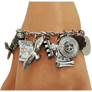 Awesome Vintage Signed Carl Art Sterling Silver Charm Bracelet~37.7 Grams!