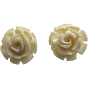 SOLD Gorgeous Vintage 14K White Carved Rose White Coral Pierced Earrings