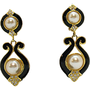 Gorgeous Vintage Enameled Pava Rhinestone Faux Pearl Dangle Clip Earrings