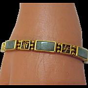 SALE Vintage Asian Style Jade Beaded Bar Bracelet~Unworn