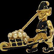 Vintage Signed Marvella Whimsical Pixie Series 1952 Brooch~Mechanical