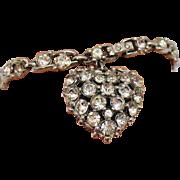 SALE Beautiful Vintage Signed Bogoff Rhinestone Bracelet Puff Heart Charm