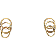 SOLD Vintage 14K Gold Interlocking Hoop Pierced Earrings