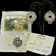 Two Pairs of Unusual Vintage Opalescent Glass Castlecraft Earrings~Original Packaging