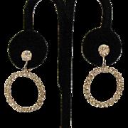 Beautiful Vintage Eternity Rhinestone Dangle Clip Earrings