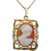 Gorgeous Vintage Signed Record 12K Gold Filled Cameo Pendant Necklace~1930s General Chain Comp