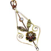 Antique Victorian 14K Pearl Diamond Pendant