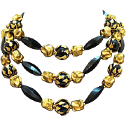 Unique Vintage Signed Deauville Beaded Gold Leaf Overlay Necklace
