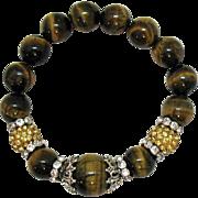 Lush Vintage Tigers Eye Gemstone Rhinestone Rondels Beaded Stretch Bracelet