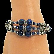 Vintage Lapis Lazuli Beaded Silver Metal Heart Bracelet