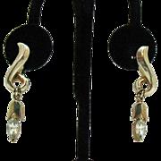 Hard to Find Vintage Signed Sperry Dangle Rhinestone Earrings Screw Back