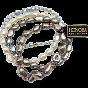 Gorgeous Vintage Fresh Water Baroque Pearl Stretch Bracelets X4
