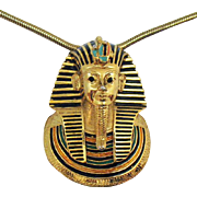Rare Signed Eisenberg Egyptian Revival King Tut Pharaoh Pendant Necklace