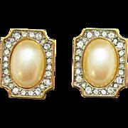 Gorgeous Signed Monet Vintage Faux Pearl Diamond Pierced Earrings