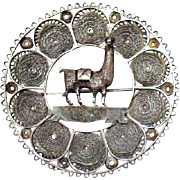 Amazing Vintage Sterling Silver Filigree Peruvian Llama Hand Wrought Brooch