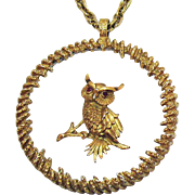 Awesome Huge Vintage Owl on Acrylic Pendant Necklace Rhinestone Eyes
