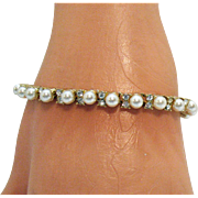 Beautiful Vintage Faux Pearl Diamond Line Bracelet