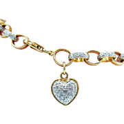 Gorgeous Vintage Sterling Silver Rolo Bracelet with Heart Charm Diamond Gold Overlay