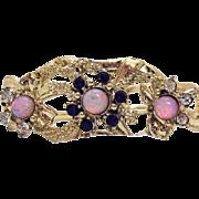 Vintage Unsigned Coro Amethyst Clear Rhinestone Givre Stone Bracelet