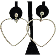 Vintage Silver Twisted Heart Rhinestone Dangle Clip Earrings~2 ½ Inches Long!