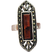 SALE Gorgeous Vintage Art Deco Sterling Silver Ring Marcasite Cognac Quarts